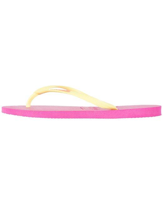 84b431130 ... Havaianas - Pink Slim Logo Flip Flops - Lyst ...