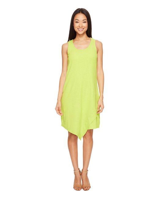 Mod-o-doc - Yellow Textured Slub Stripe Tank Dress - Lyst