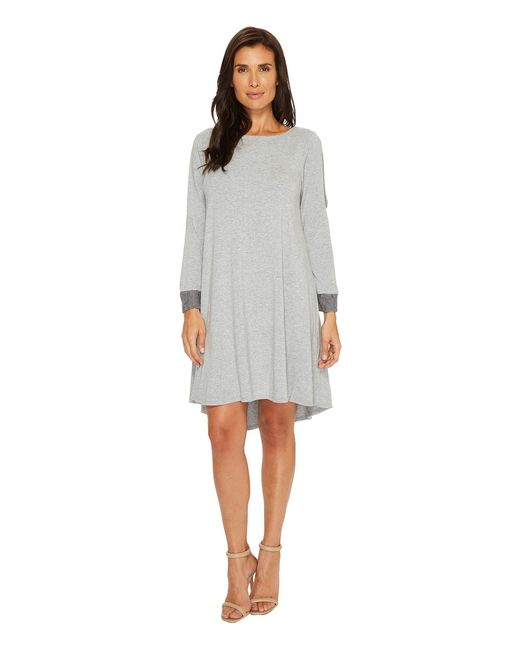 Mod-o-doc - Gray Cotton Modal Spandex Jersey Split Sleeve Swing Dress With Lace Trim - Lyst