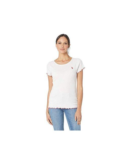 7c00974ba0c9 U.S. POLO ASSN. Solid Lettuce Edge T-shirt (optic White) T Shirt in ...