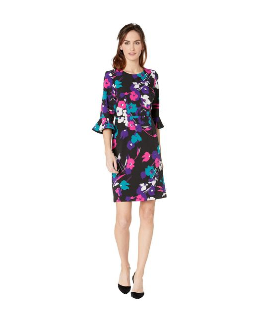 d335b78f Nine West - Black Printed Coral Crepe 3/4 Ruffle Sleeve Sheath Dress - Lyst  ...