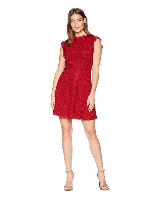 Alexia Admor - Red Ruffle Sleeve Fit & Flare Lace Dress - Lyst