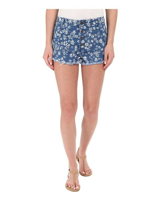 Volcom | Blue High & Waisted Shorts | Lyst