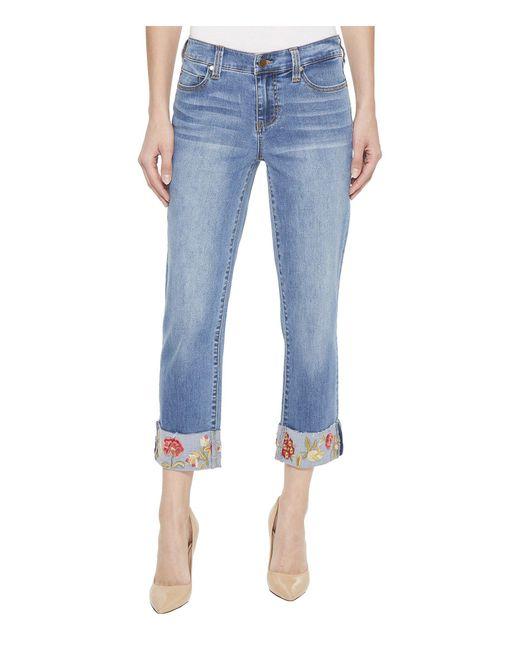 Liverpool Jeans Company - Blue Josie Embroidered Wide Cuff Capris In Vintage Super Comfort Stretch Denim In Bridgeport - Lyst