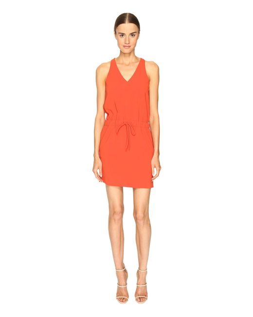 Boutique Moschino - Orange Drawstring V-neck Dress - Lyst