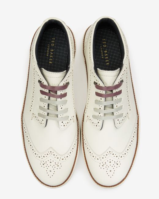 Ted Baker | White Brogue Detail Suede Trainers for Men | Lyst