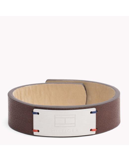 Tommy Hilfiger | Brown Leather Cuff | Lyst
