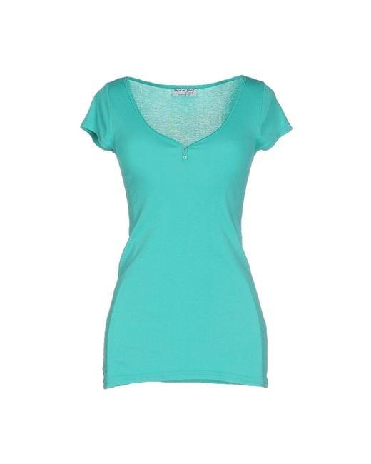 Michael stars t shirt in green light green save 29 lyst for Michael stars tee shirts