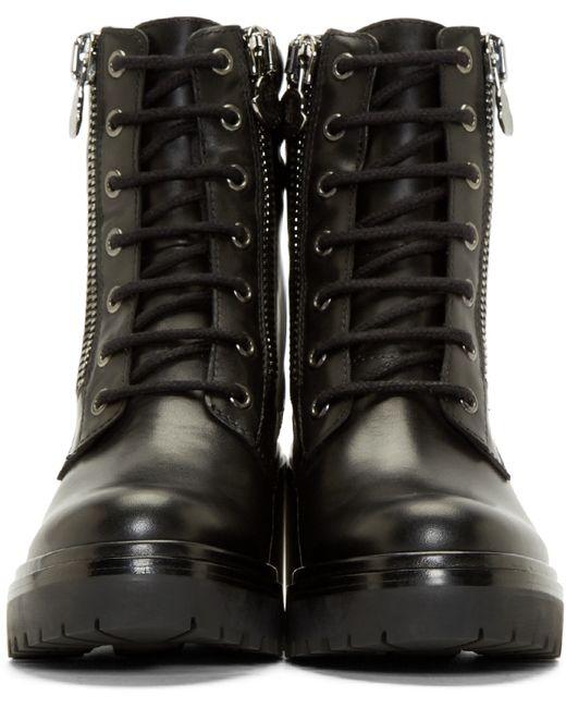 Moncler Black Leather Viviane Combat Boots In Black Lyst