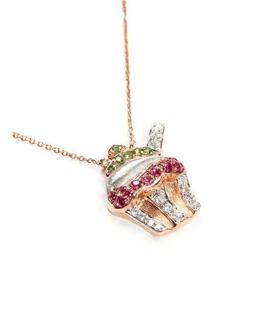 Bao Bao Wan   Multicolor Diamond Rose Gold Cupcake Necklace   Lyst