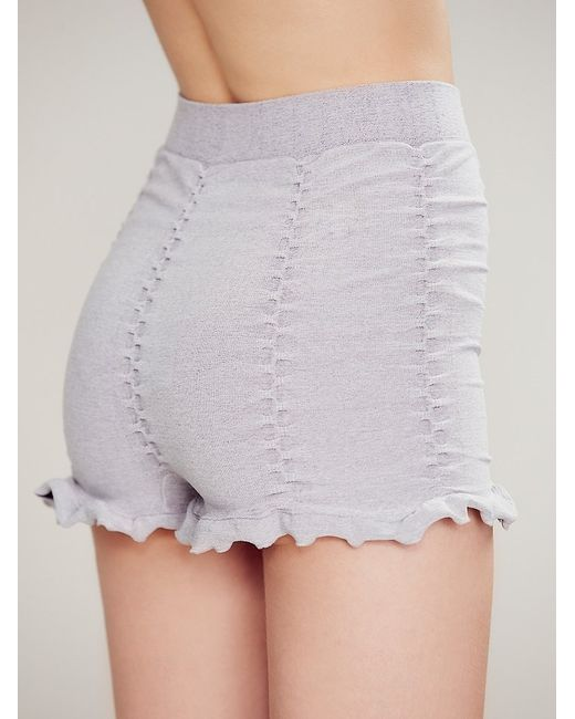 Free People | Gray Ruched Seamless Shorts | Lyst