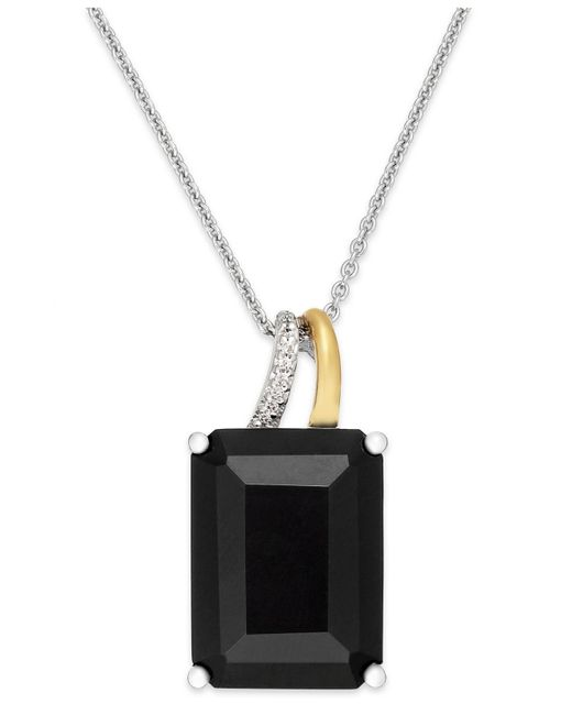 Macy's | Black Onyx (10 Ct. T.w.) And Diamond Accent Pendant Necklace In Sterling Silver And 14k Gold | Lyst