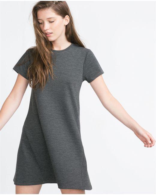 Zara | Gray Oversized T-shirt Dress | Lyst