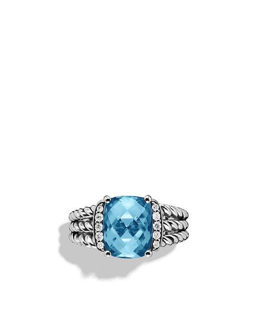 David Yurman | Petite Wheaton Ring With Hampton Blue Topaz And Diamonds | Lyst