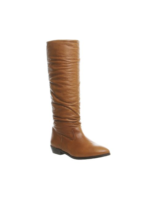 Office   Brown Eliza Slouch Knee Boots   Lyst