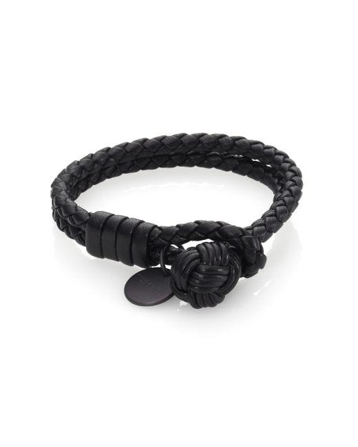 Bottega Veneta | Black Intrecciato Leather Double-row Wrap Bracelet | Lyst