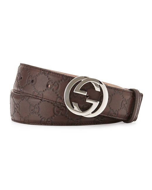 gucci interlocking g buckle leather belt in brown
