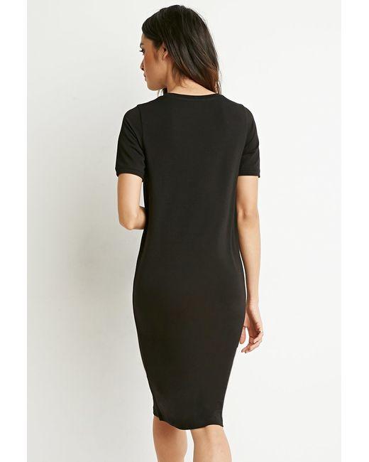 Forever 21 midi t shirt dress in black lyst for Midi shirt dress black