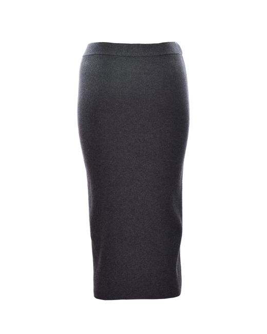 may charcoal grey knit pencil skirt in gray