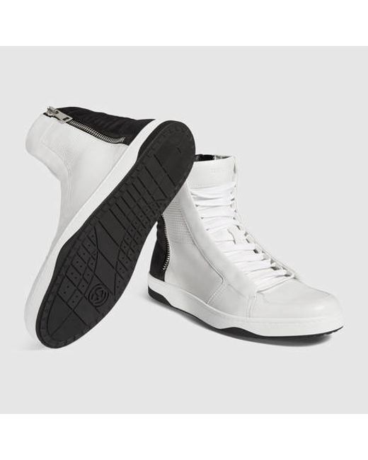 gucci leather high top sneaker with zippers in white for men white and black leather save 51. Black Bedroom Furniture Sets. Home Design Ideas