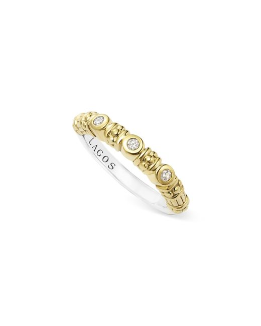 Lagos | Metallic Sterling Silver And 18k Gold Three Diamond Stacking Ring | Lyst