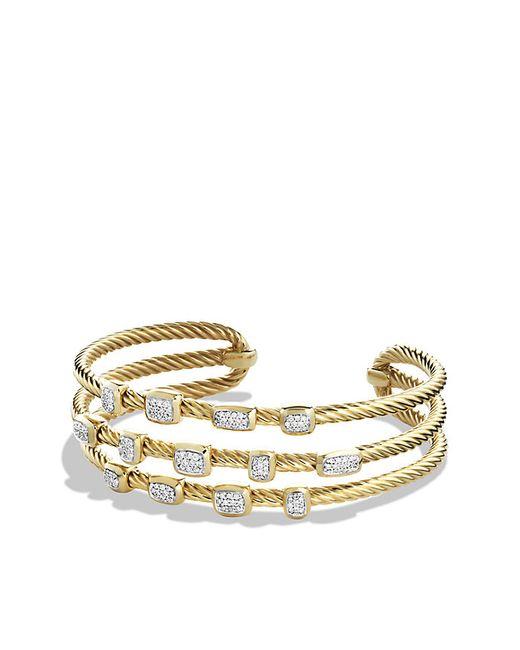 David Yurman | Metallic Confetti Narrow Cuff Bracelet With Diamonds In Gold | Lyst