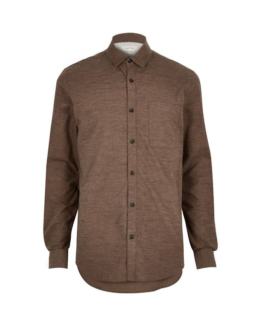 River island brown marl flannel pocket shirt in brown for for Places to buy flannel shirts