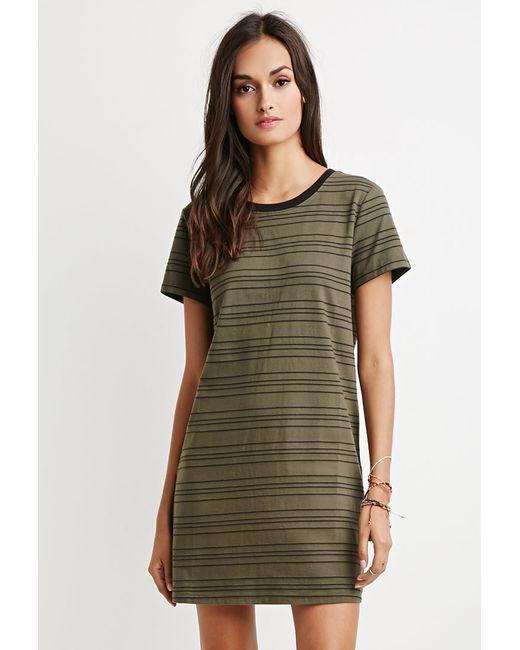 Forever 21 | Green Cutout-back Striped T-shirt Dress | Lyst