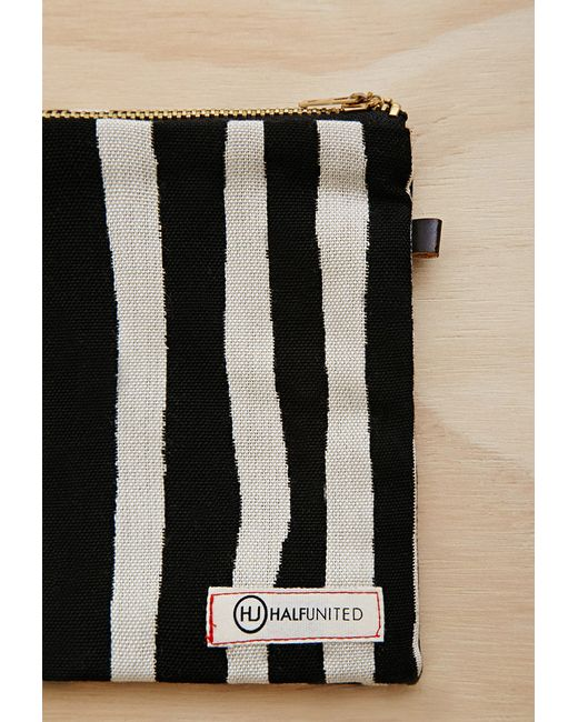 Forever 21 | Black Half United Striped Zipper Pouch | Lyst