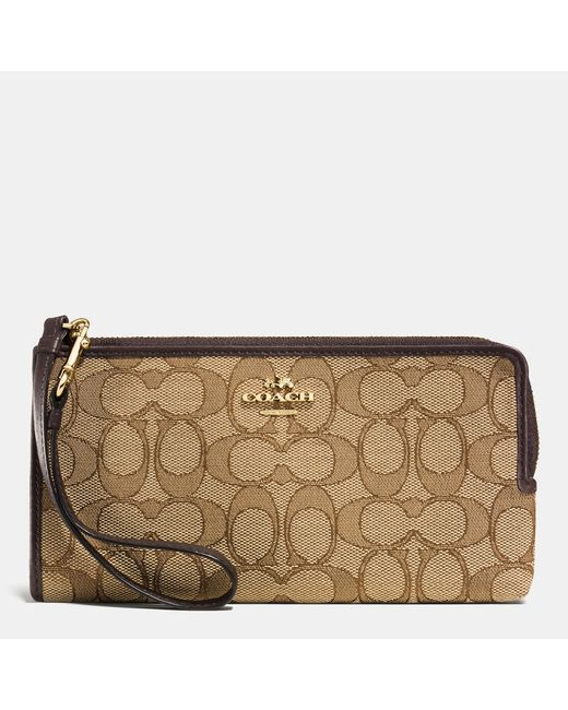 COACH | Brown Double Zip Wallet In Signature Jacquard | Lyst