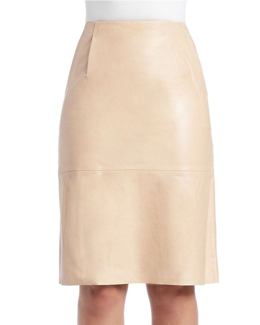 connection rocker leather pencil skirt in beige