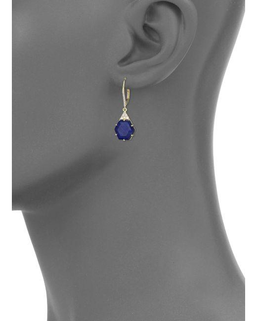 Meira T | Metallic Sodalite, Diamond & 14k Yellow Gold Hexagon Drop Earrings | Lyst