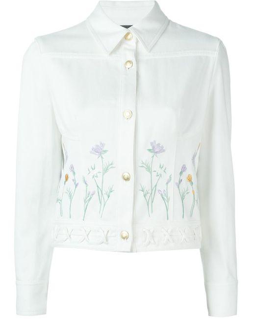 Alexander mcqueen flower embroidered denim jacket in white