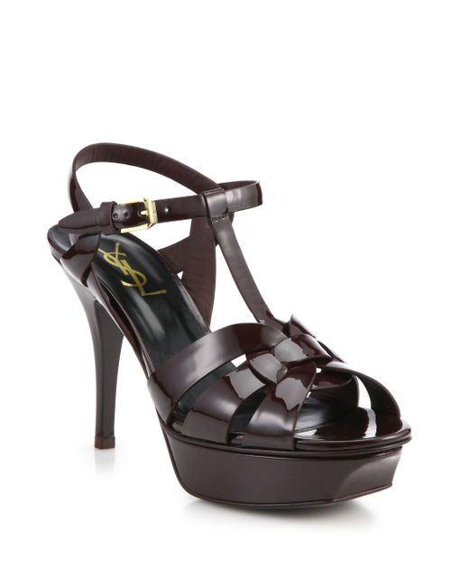 Saint Laurent | Purple Tribute Patent Leather Platform Sandals | Lyst