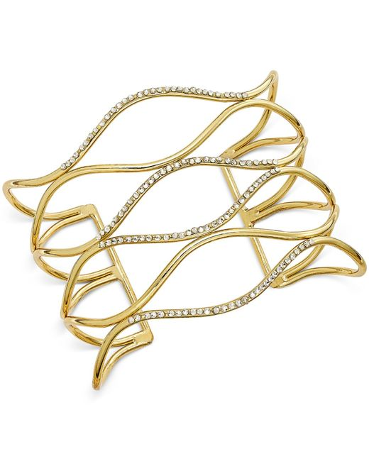 INC International Concepts   Metallic Silver-tone Pave Open Cuff Bracelet, Only At Macy's   Lyst