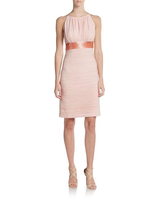 JS Boutique   Pink Shirred Empire-waist Dress   Lyst