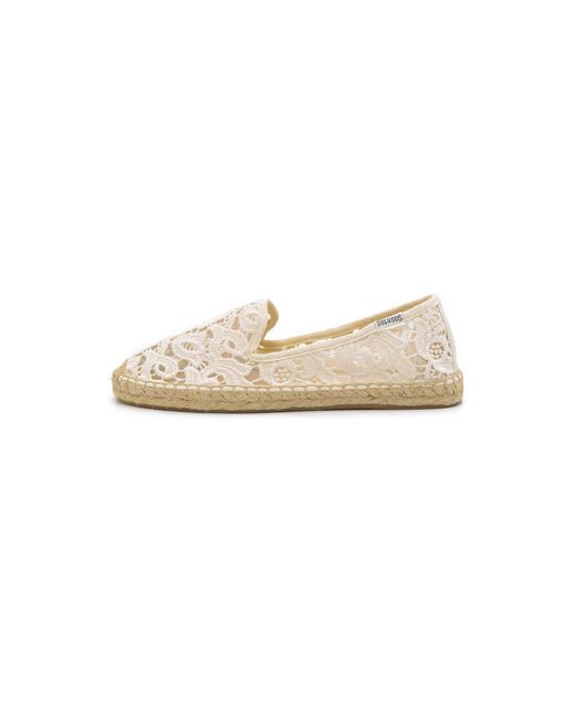 Soludos | White Tulip Lace Smoking Slipper Espadrilles | Lyst