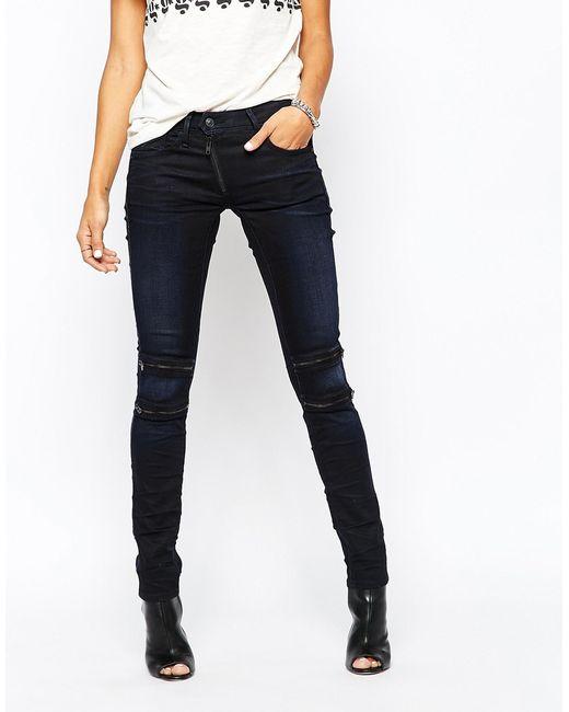 g star raw g star lynn custom mid zip knee skinny jean in blue lyst. Black Bedroom Furniture Sets. Home Design Ideas