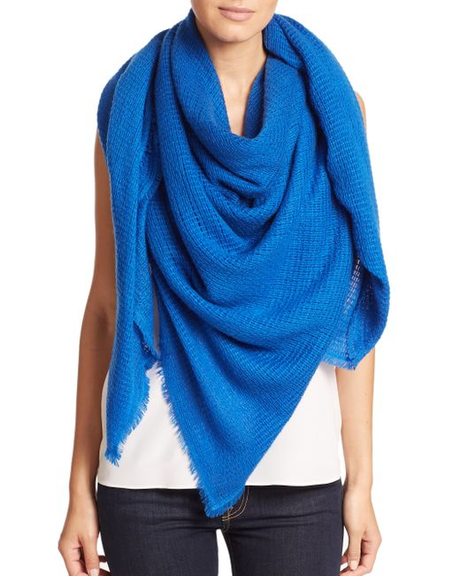 Bajra | Blue Felted Wool Net-Weave Square Scarf | Lyst