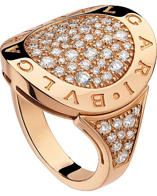 BVLGARI | Metallic - 18ct Pink-gold And Pavé-diamond Ring | Lyst