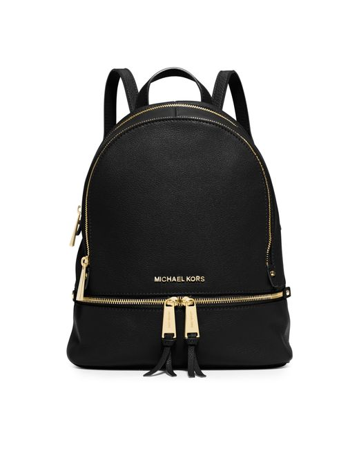 michael kors rhea small leather backpack in black lyst. Black Bedroom Furniture Sets. Home Design Ideas