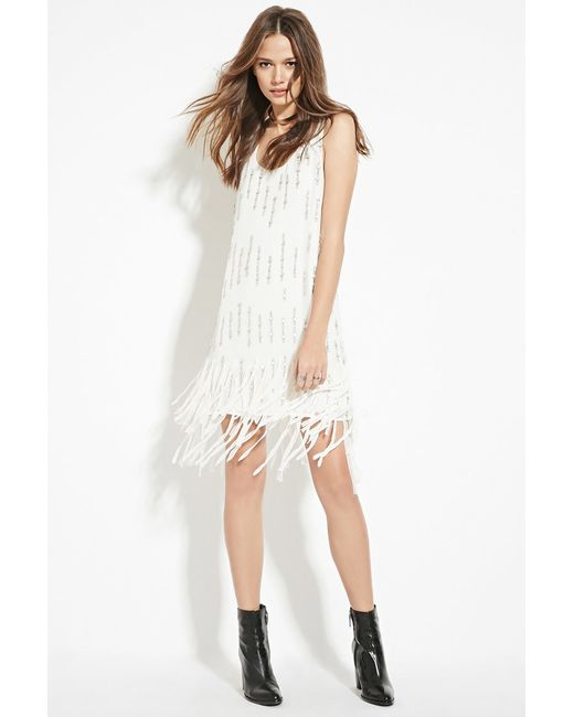 Forever 21 | White Contemporary Sequined Shift Dress | Lyst