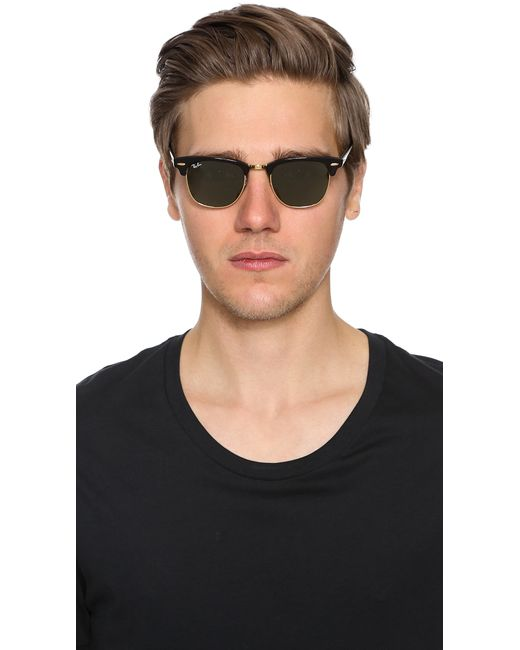 ray ban clubmaster classic sunglasses in black for men lyst. Black Bedroom Furniture Sets. Home Design Ideas