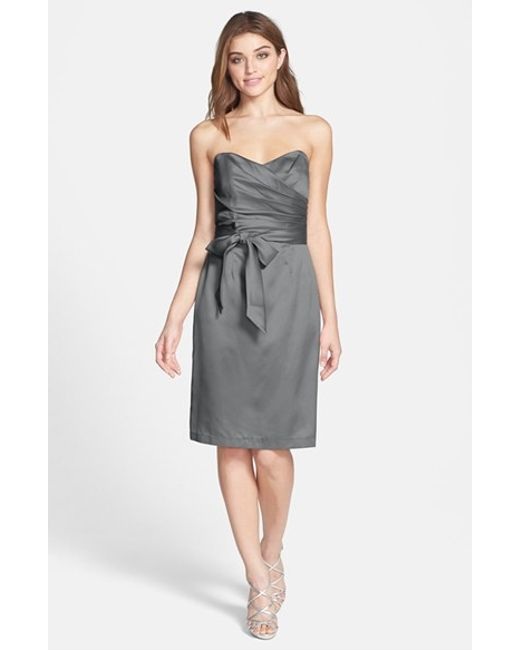 Dessy Collection | Gray Satin Cocktail Dress | Lyst