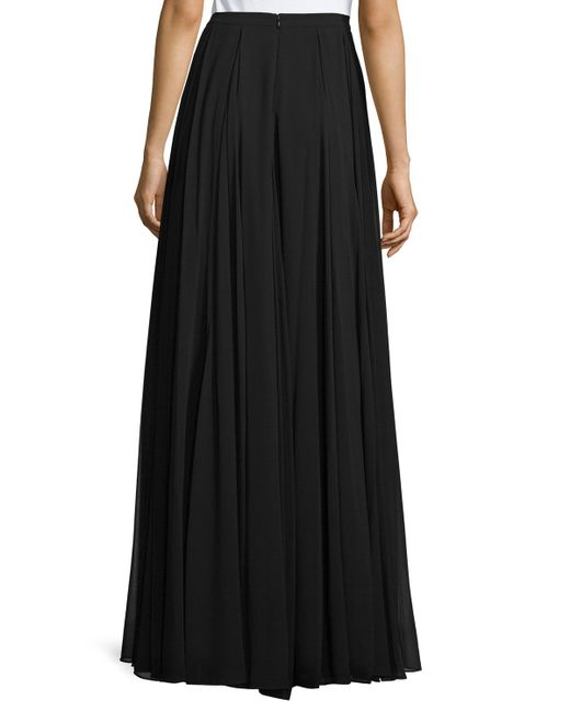 heritage pleated a line maxi skirt in black lyst