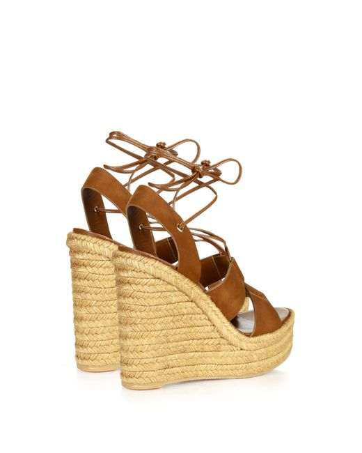 Saint Laurent Suede Espadrille Wedge Sandals In Brown Tan