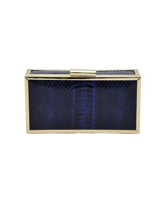 La Regale   Blue Faux Snake Box Framed Clutch   Lyst
