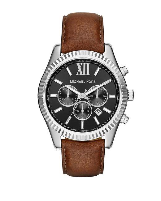 Michael Kors | Lexington Stainless Steel Brown Leather Strap Chronograph for Men | Lyst