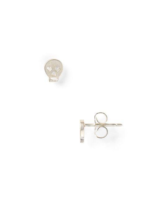 Dogeared | Metallic Little Things Mini Silver Skull Earrings | Lyst