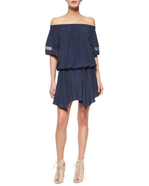 Ramy Brook | Blue Jessa Plisse Off-the-shoulder Dress | Lyst